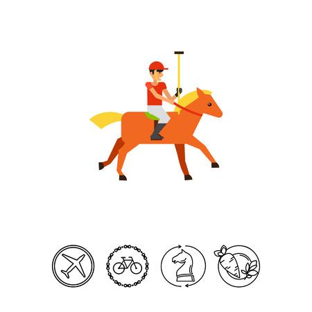 Polo Sport Player Icon Illustration