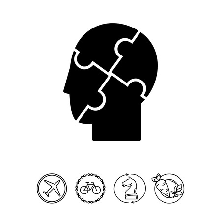 Psychology Concept and Human Head Icon Illustration