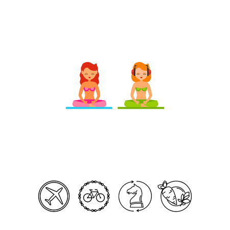beach closed: Relaxing on Beach Flat Icon Illustration
