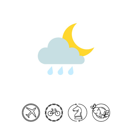prediction: Icon of cloud with raindrops and moon