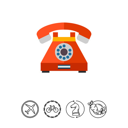 Multicolored vector icon of retro telephone with dialing disk