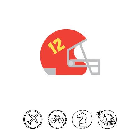 Icoon van rode rugby helm met raster en nummer twaalf