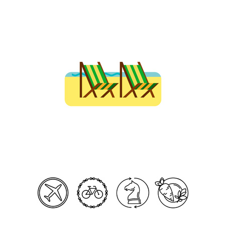 Sandy Beach with Two Deck Chairs Icon Illustration