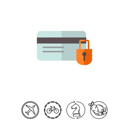 Icon of credit card and padlock Illustration