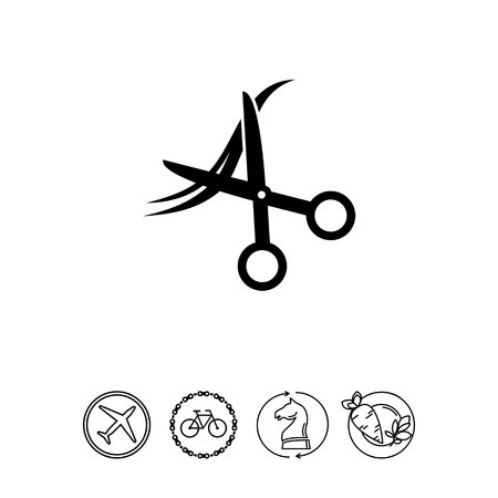 Scissors and Hair as Haircut Concept Icon