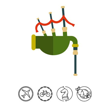 celtic: Multicolored vector icon of traditional Scottish bagpipe
