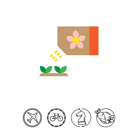 Icon of flower seed packet with few seeds falling out and growing sprouts Ilustrace