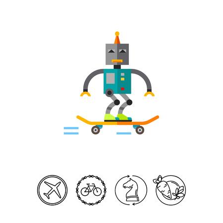 Skater Robot Skating Icon