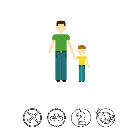 Single-parent family with child Illustration