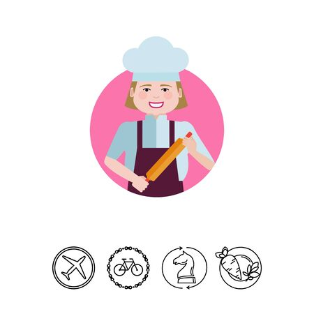 rolling pin: Female character, portrait of smiling female chef