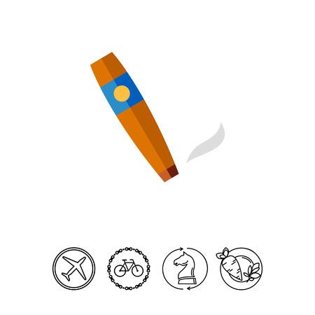 Smoking Cigar Icon Illustration
