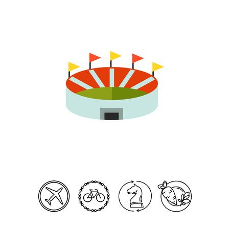Multicolored vector icon of stadium, top view