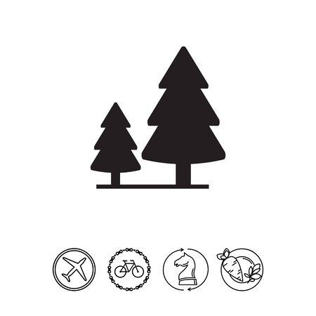 2 つのモミの木と木製看板のベクトルのアイコン