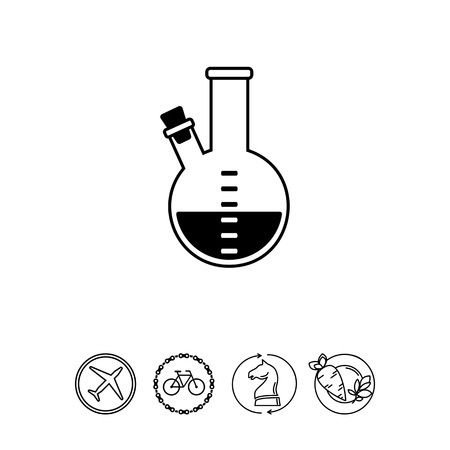 Monochrome vector icon of purple substance in flask with two necks, one of them plugged with corks Illustration