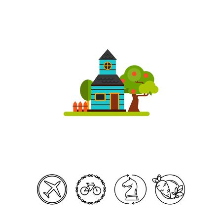 House with garden and orchard in summer season. Village, fruit, construction. Summer cottage concept. Can be used for topics like summer, vacation, countryside. Illustration