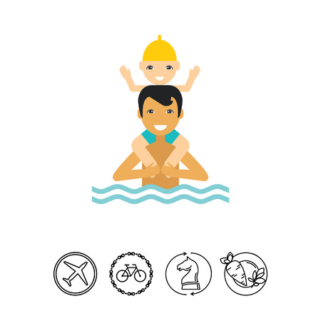 Man standing in water and holding boy on his shoulders. Sea, beach, leisure. Swimming concept. Can be used for topics like summer, vacation, swimming.