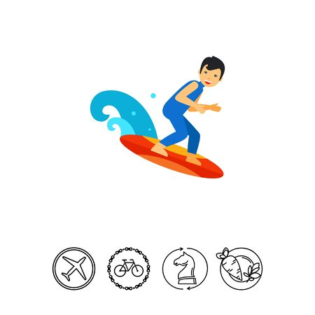 Man surfing on board and smiling. Wave, sea, extreme. Surfing concept. Can be used for topics like sport, health, leisure. Illustration