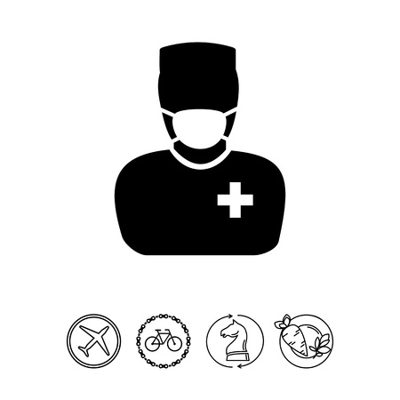 Male character in mask and surgeon uniform. Professional, operation, care. Surgery concept. Can be used for topics like medicine, healthcare, health.