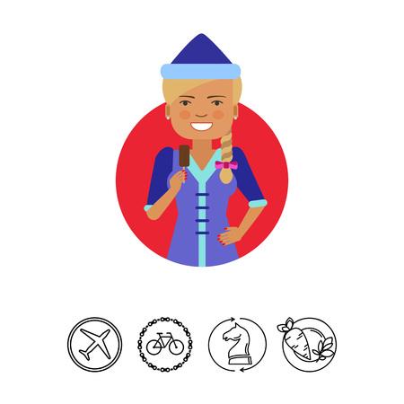 holing: Smiling woman holding choc-ice
