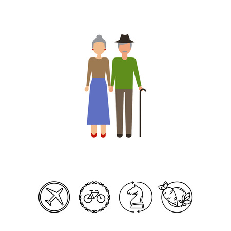 earrings: Icon of senior woman and man Illustration