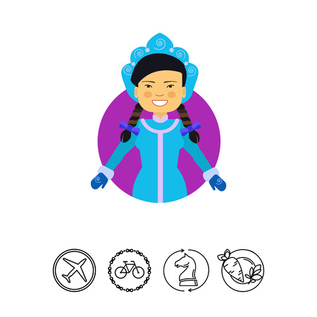 Female character, portrait of smiling Asian woman wearing blue fancy dress with mittens