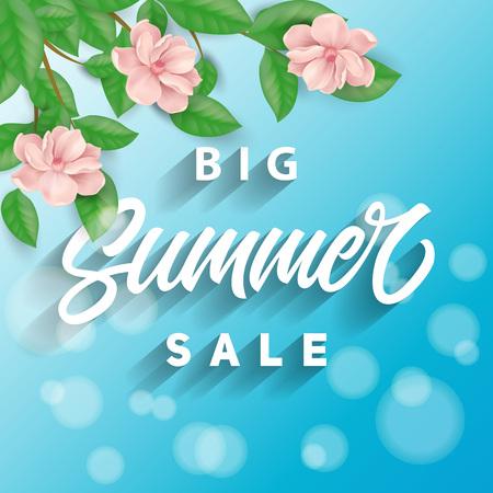 Big Summer Sale lettering with flowers Illustration