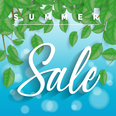 Summer Sale lettering with leaves Illustration