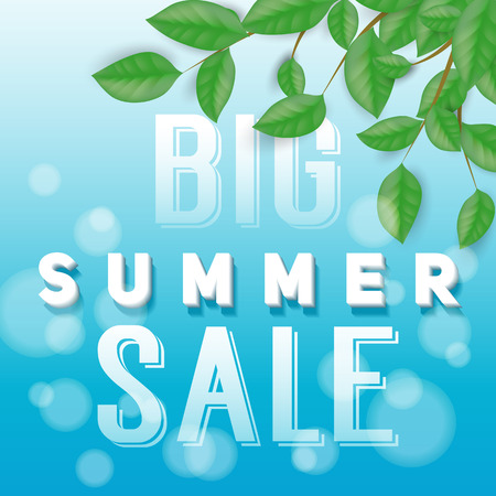 Big summer sale lettering with leaves over blue background with bokeh. Illustration