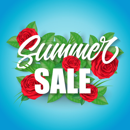 Summer sale lettering with roses and leaves over blue background. Advertisement, special offer, promotion. Sale concept. Can be used for posters, leaflets and brochure Illustration