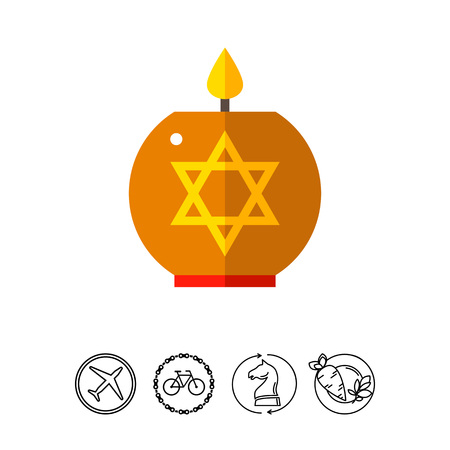 Star of David Candle Icon Illustration