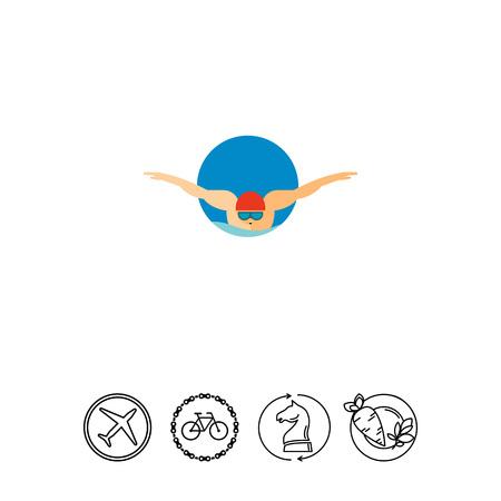 swimming glasses: Swimming Man Icon