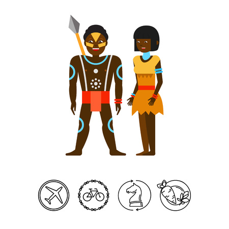 Aborigine Australian couple icon