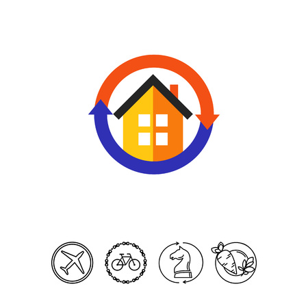 Air conditioner system in house icon