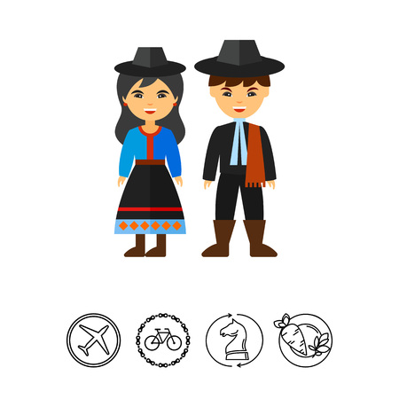民族衣装アイコンでアルゼンチンのカップル
