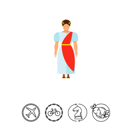 Ancient Roman in national costume icon