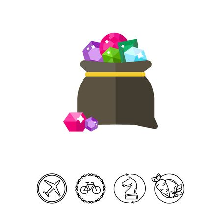 Bag with gems vector icon.