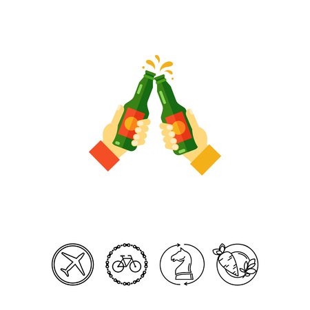 the topics: Icon of men toasting with beer bottles. Celebratory toast, gathering of friends, clinking. Beer concept. Can be used for topics like friendship, bar or friday