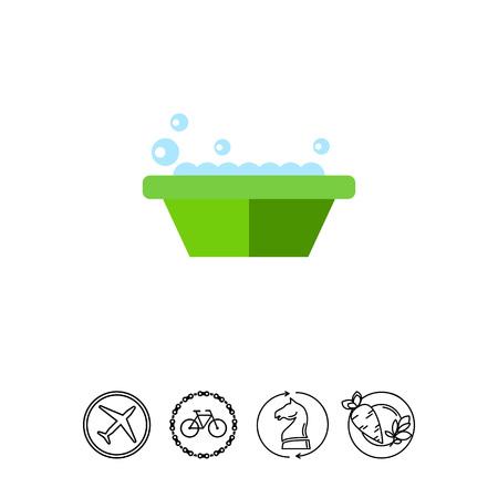 lavamanos: Basin with soap icon. Vectores