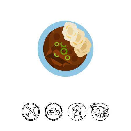 Beef goulash with homemade dumplings icon.