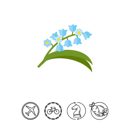 Blooming lily of valley icon.