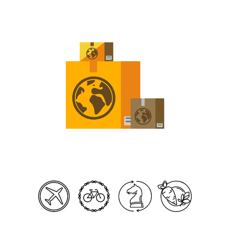 sign post: Boxes with Airmail Sign Icon Illustration