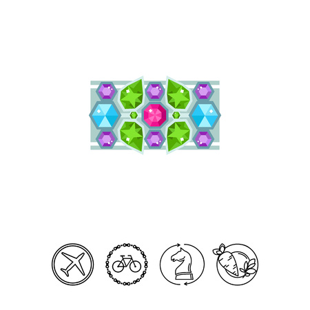 diamond stones: Bracelet with colorful gems vector icon.