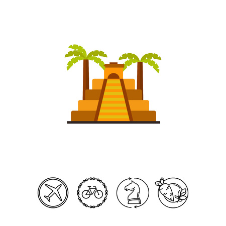 ancient civilization: Icon of Aztec pyramid with palms. Aztec civilization, ziggurat, Mesopotamian architecture. Civilization concept. Can be used for topics like ancient history, ancient architecture, Sumerian culture