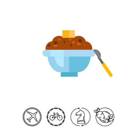 Icon of buckwheat porridge. Dish, meal, cuisine. Healthy food concept. Can be used for topics like breakfast, menu, cooking Illustration