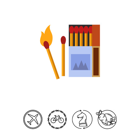 matchbox: Icon of burning matches. Bonfire, safety, smoking. Fire concept. Can be used for topics like camping, danger, caution