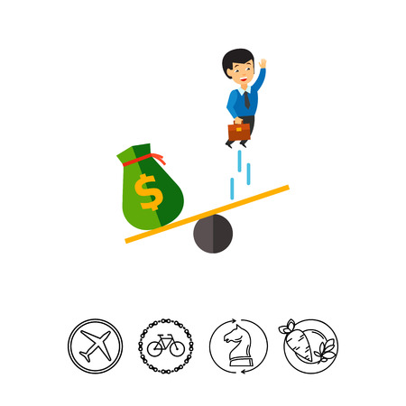 Businessman jumping on see saw and money bag. Project, investment, idea. Business startup concept. Can be used for topics like business, technology, marketing. Illustration