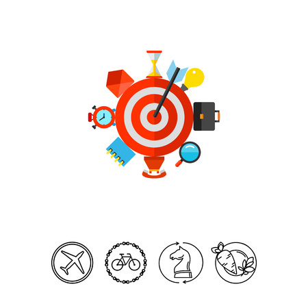 Vector icon of target with arrow and business icons. Business targeting, time allocation, efficiency. Time management concept. Can be used for topics like business, planning, marketing Illustration