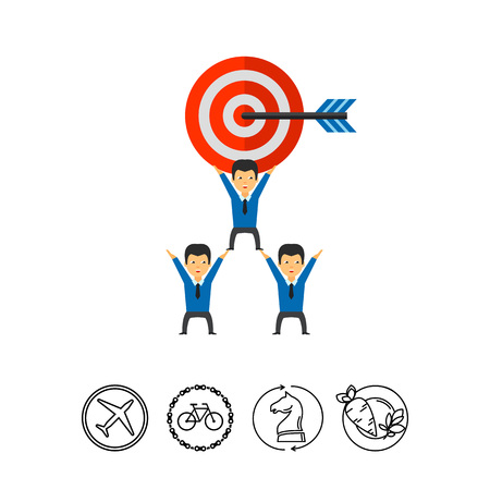 Business team holding big target with arrow. Goal, cooperation, strategy. Team target concept. Can be used for topics like business, teamwork, planning, management.