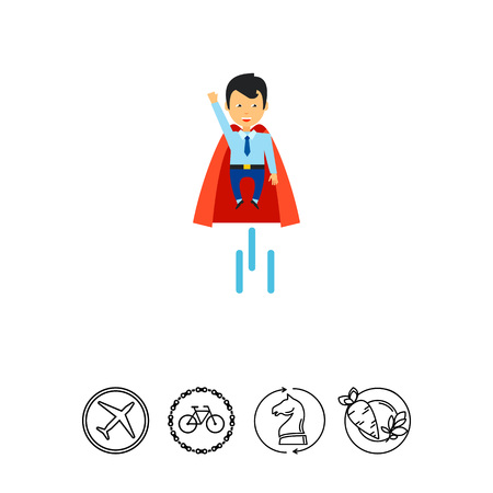 man flying: Flying businessman superhero. Project, enterprise, idea. Startup concept. Can be used for topics like business, technology, marketing.