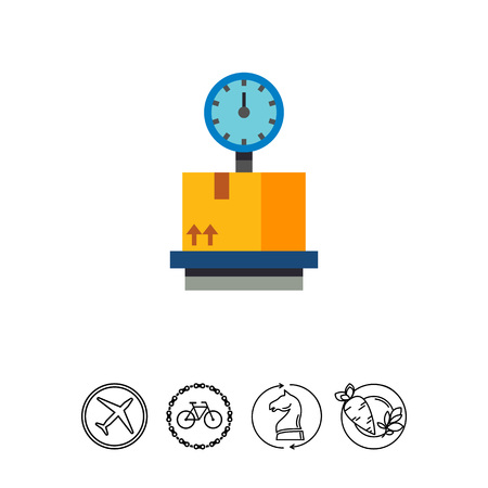 Vector icon of cardboard box on storage scales. Measuring equipment, freight, logistics. Warehouse concept. Can be used for topics like delivery service, shipment, transportation
